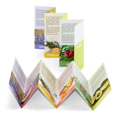 ejemplo del plegado en zig-zag de un folleto de 6 cuerpos