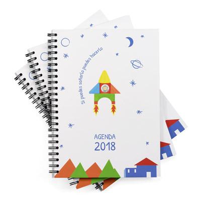 ejemplo de agendas encuadernadas con gusanillo o wireo y la portada de cartulina