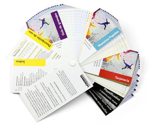 muestrario de papeles, gramajes y plastificados para impresion