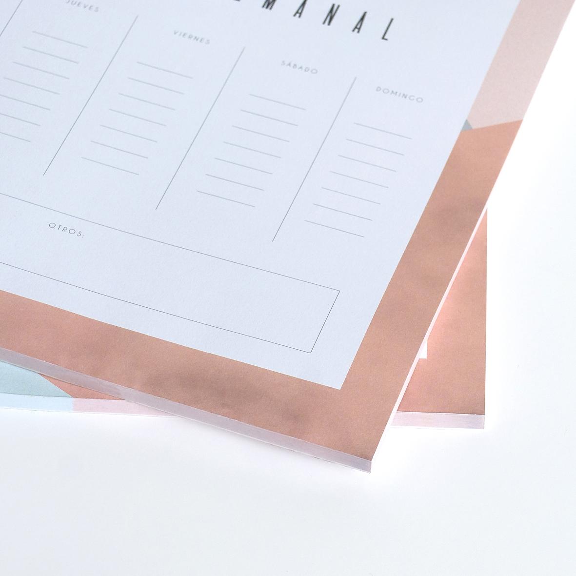 planificador semanal de sobremesa encolado para arrancar paginas