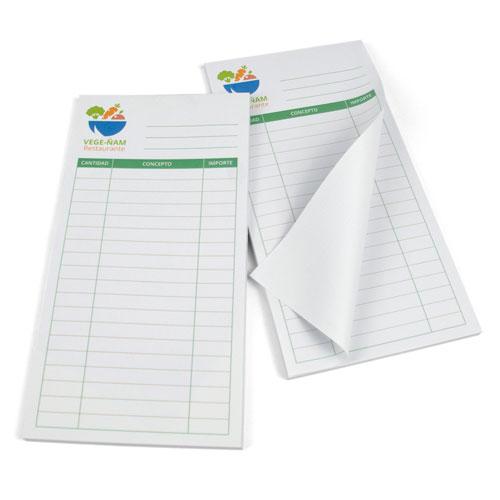 ejemplos de tamaños de bloc de notas para hostelería