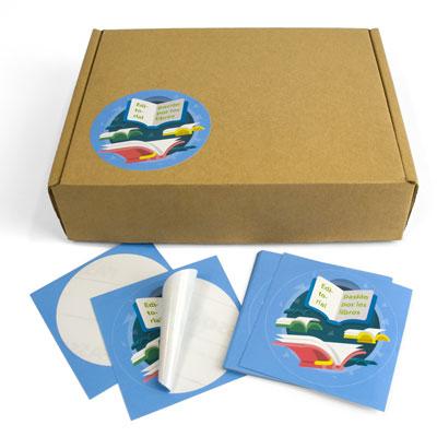 presupuesto de imprimir un adhesivo rectangular con semicorte