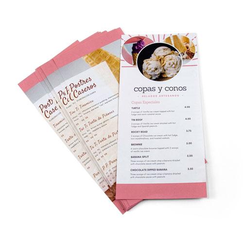 imprimir cartas de helados y cafeterias