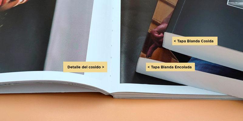 Detalle de los fotolibros encuadernados en tapa blanda cosida o encolada