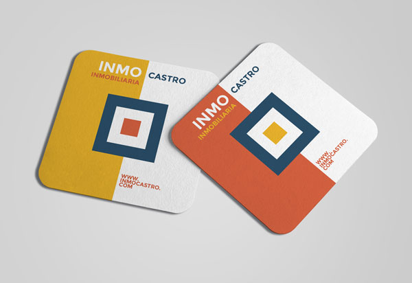 tarjetas de visita cuadradas con los cantos redondos
