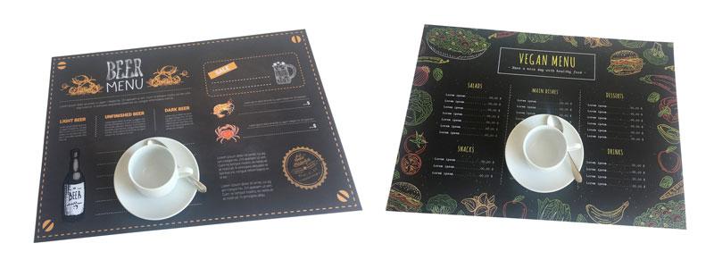 manteles con menu impreso anti covid-19