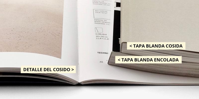 detalle del cosido y encolado de un catalogo encuadernado rustica o tapa blanda